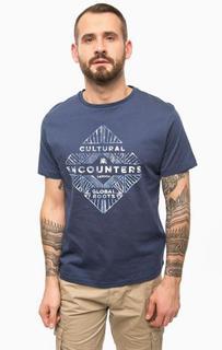 Синяя хлопковая футболка с принтом Lerros