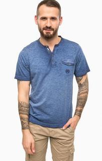 Синяя хлопковая футболка с карманом Lerros