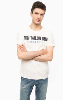 Белая футболка с контрастным принтом Tom Tailor Denim