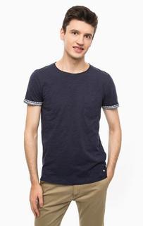 Синяя хлопковая футболка с карманом Tom Tailor Denim