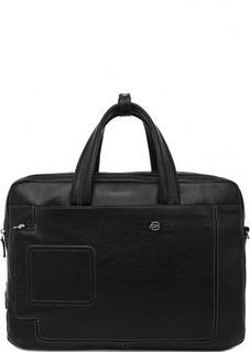 Вместительная кожаная сумка с двумя отделами на молниях Piquadro