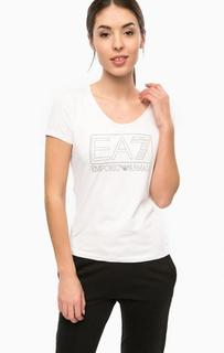 Белая хлопковая футболка EA7