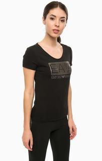 Черная хлопковая футболка EA7