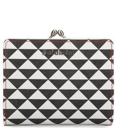 Трехцветный кожаный кошелек с логотипом бренда Baldinini