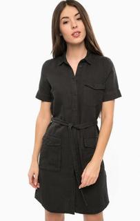 Черное платье-рубашка с накладными карманами Mavi