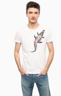Белая хлопковая футболка с принтом Mavi