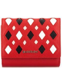 Красный кожаный кошелек с логотипом бренда Baldinini