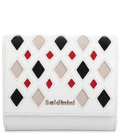 Белый кожаный кошелек с логотипом бренда Baldinini