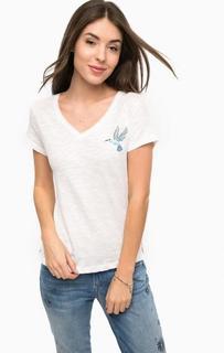Белая футболка с треугольным вырезом Tom Tailor