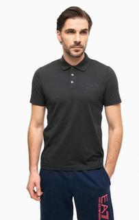 Хлопковая футболка поло с вышивкой EA7