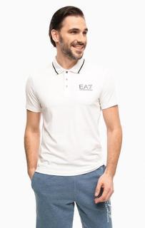 Белая футболка поло с принтом EA7