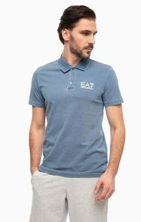 Синяя хлопковая футболка поло EA7