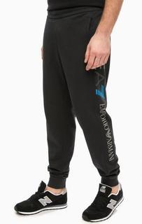 Зауженные синие брюки в спортивном стиле EA7