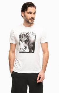 Белая футболка с контрастным принтом EA7