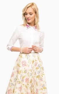Белая приталенная рубашка с рукавами три четверти Pennyblack