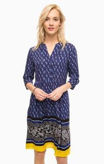 Платье из вискозы синего цвета с принтом Pennyblack