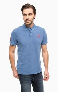 Синяя хлопковая футболка поло Blend