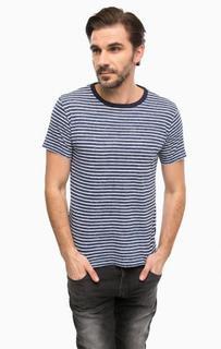 Синяя футболка в полоску с короткими рукавами Replay