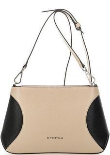 Бежевая кожаная сумка через плечо Cromia