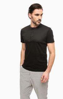 Черная футболка с застежкой на пуговицы Antony Morato