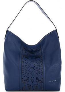 Синяя кожаная сумка с длинной ручкой Cromia