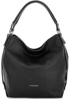 Черная кожаная сумка на молнии Cromia