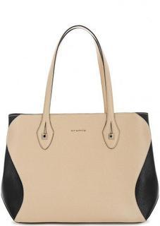 Бежевая кожаная сумка на молнии Cromia