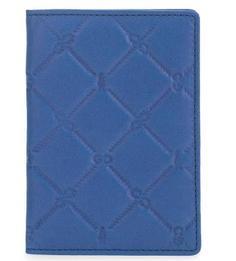 Синяя кожаная обложка в клетку Gianni Conti