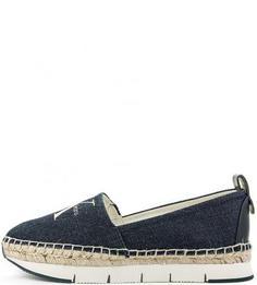 Синие текстильные слипоны с логотипом бренда Calvin Klein Jeans