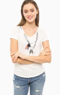 Хлопковая футболка с отделкой бисером Tom Tailor Denim