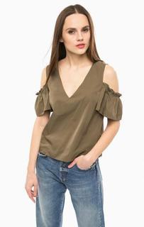 Блуза цвета хаки с открытыми плечами Pinko