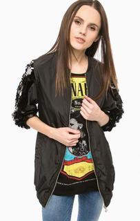 Черная куртка с отделкой пайетками Fornarina