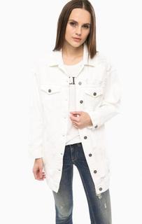 Белая рваная куртка с карманами Fornarina