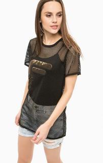 Черная футболка с нашивкой Fornarina
