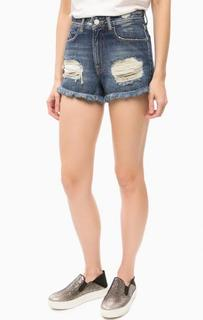 Короткие джинсовые шорты с рваными деталями Fornarina