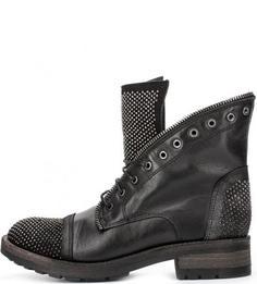 Кожаные ботинки с металлическим декором Felmini