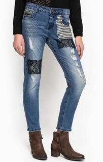 Синие рваные джинсы бойфренд Desigual