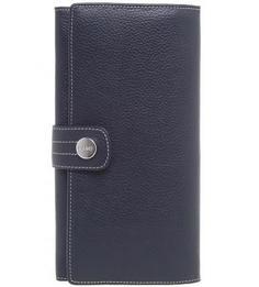 Синий кожаный кошелек с застежкой на кнопку Picard