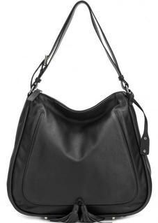 Черная кожаная сумка с длинной ручкой Abro