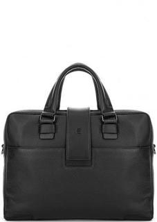 Черная кожаная сумка с плечевым ремнем Piquadro