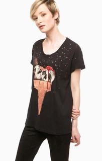 Черная футболка с отделкой бисером Religion