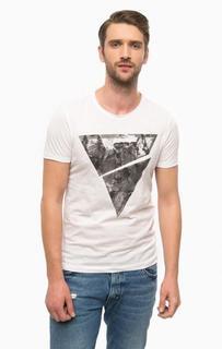 Белая хлопковая футболка с круглым вырезом Mavi