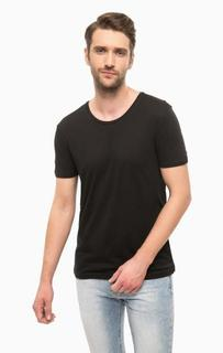 Однотонная черная футболка с круглым вырезом Mavi