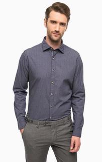 Синяя хлопковая рубашка с длинными рукавами Cinque