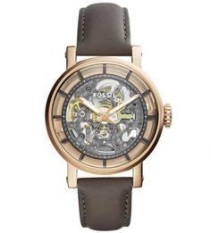 Механические часы с кожаным браслетом Fossil