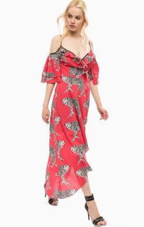 Длинное красное платье на бретелях Fornarina