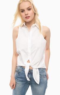 Белая рубашка без рукавов с перфорацией Fornarina