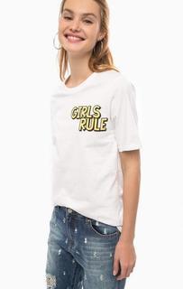 Белая хлопковая футболка с принтом Silvian Heach