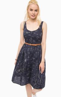 Синее платье из хлопка на пуговицах Sugarhill Boutique