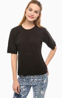 Черная хлопковая футболка Silvian Heach